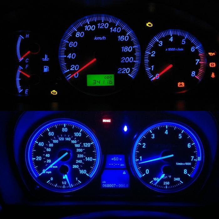 10pcs/set Car Light T4/T4 2 Neo Wedge LED Bulb Cluster Instrument Dash  Climate Base Lights CSL2017