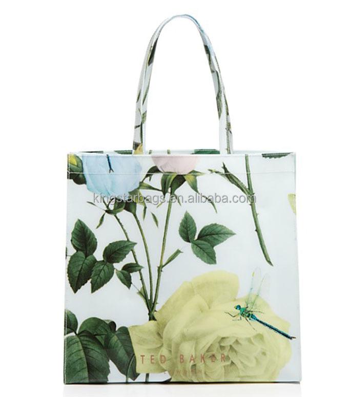 China Custom Floral Print Pvc Vinyl Tote Bag - Buy Vinyl Tote Bag ...