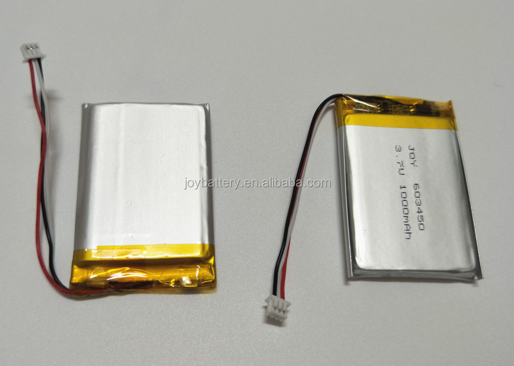 Rechargeable 063450 lipo 3.7V 1000mAh 603450 lithium ion li polymer battery with pcb and connector/10K NTC