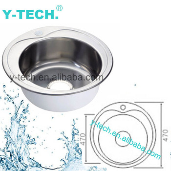 Yk 4747 Stainless Steel Sink Single Small Round Bar Trough Basin Kitchen