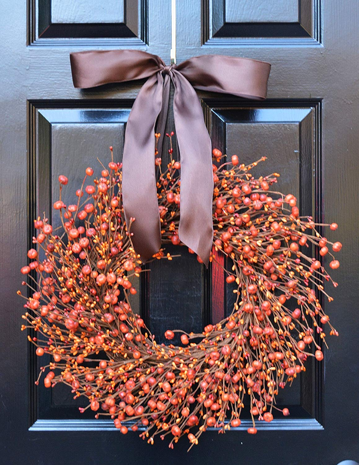 Elegant Holidays Handmade Fall Pumpkin Berry Wreath w/ Bow, Decorative Front Door to Welcome Guests-for Outdoor or Indoor Home Wall Accent Décor- Great for Autumn, Thanksgiving and Halloween- 16-24 in