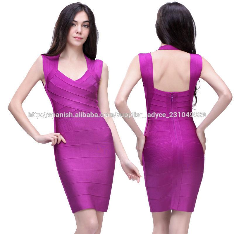 vestidos de verano elegantes púrpuras barco sin espalda cuello para ...