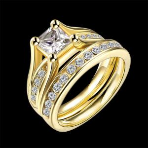 2 PCS/Set CZ Zircon 316L Stainless Steel Rings for Women 18K Gold Plated Crystal Titanium Female Engagement Wedding Finger Rings