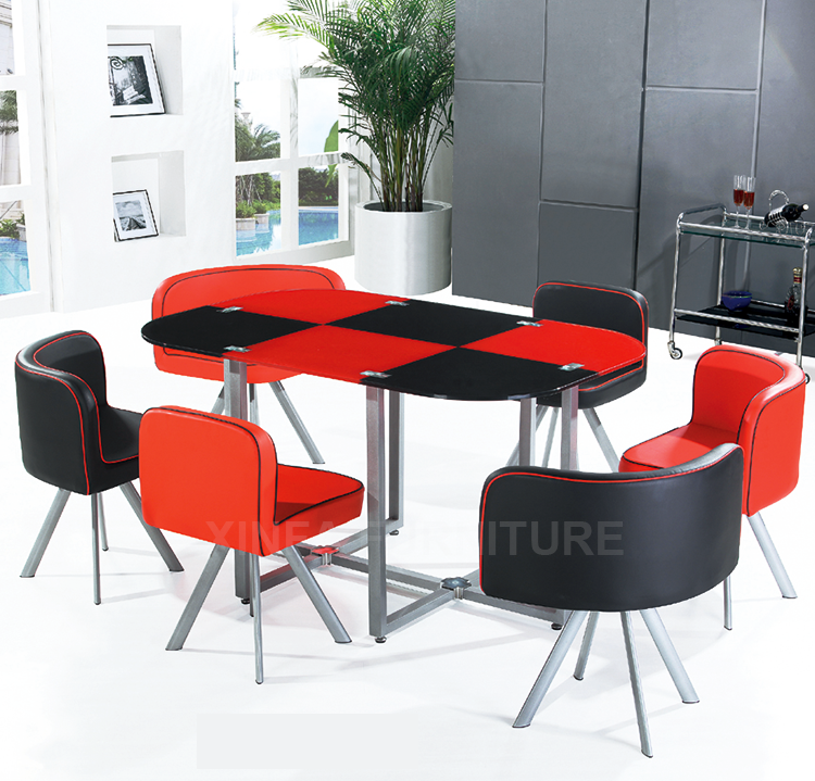 Hot Sale Glass Dining Table And Four Pu Leather Chairs For Home Furniture B
