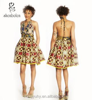 M40794 Mix Match Ankara African Print Halter Dress Sexy African ...
