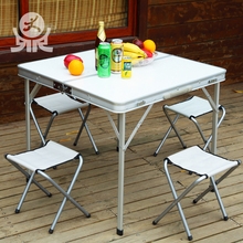Outdoor leisure furniture white canvas metal folding chairs multifunctional aluminium picnic beer garden table set