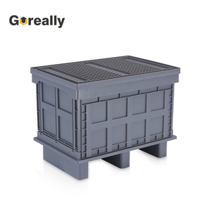 Plastic folding storage security tub box without lid