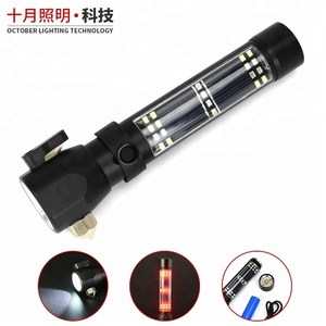 USB rechargeable safe hammer torch light solar led flashlight with cutting knife multi function led solar light