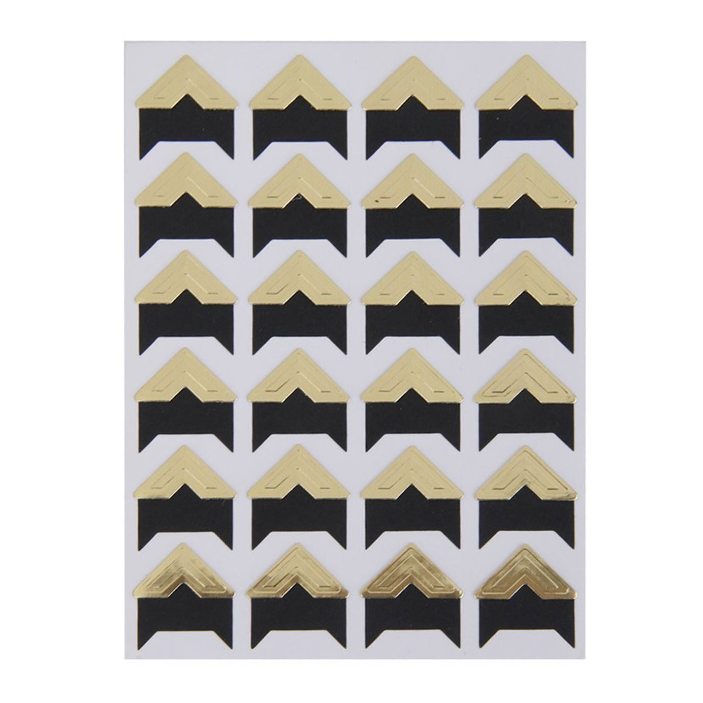 Pixnor Set of 5 Sheets DIY Scrapbook Album Photo Mounting Corners Sticker Self-Adhesive with 24PCS/Sheet Gold