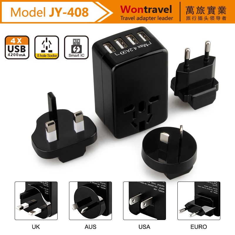 Alibaba hot sale 4 usb travel charger with UK US EU AU <strong>plug</strong> 5V 4200mA fast charger
