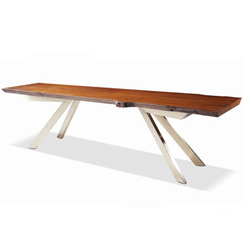 Genial New Model Live Edge Wooden Dining Table Modern Design Stainless Steel Table  Base
