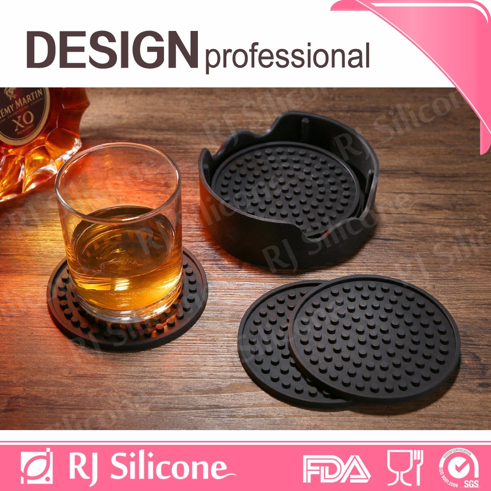 RJSILICONE shenzhen home/office/bar tableware quilted placemats manufacturers black silicone cup pad
