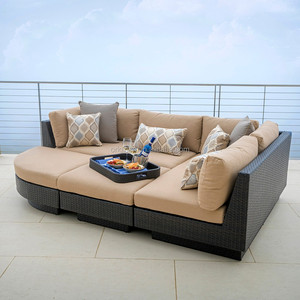 Luxury leisure lounge wicker furniture and ottoman high quality rattan outdoor sofa bed