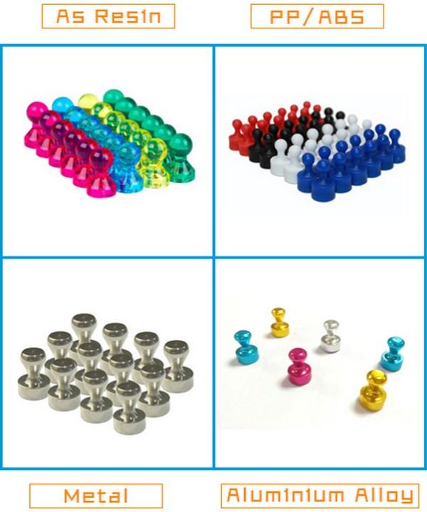 24 geborsteld neodymium nikkel gecoate magnetische push pins