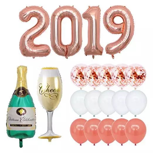 40 Inch Alphabet Foil balloons 2019 Rose Gold Color with 12 inch Latex Confetti Balloon Set for New Year