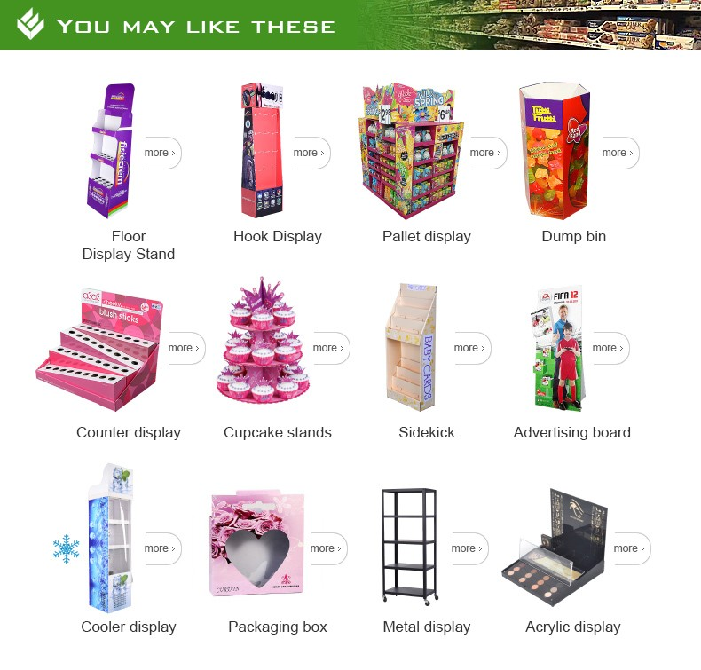 Professional manufacturing CMYK Cardboard POP Retail Food Chocolate Carton Display Make Up stand