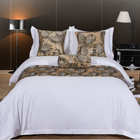 Comforter Wholesale Luxury 100 % Cotton 5 Star Satin Encrypt 4 Pieces Fabric Hotel 60 S Bedding Sheet Set With Duvet Cover