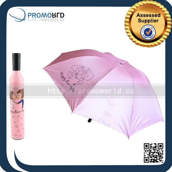 Polyester Material And cheap Wine Bottle Shape Umbrella