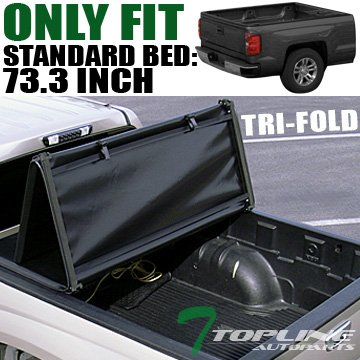 """Topline Autopart Tri-Fold Soft Tonneau Cover For 05-15 Frontier King/Crew 09 Equator 6 Ft 72"""" Bed"""