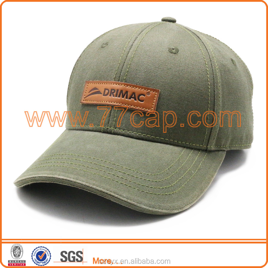 2016 Customized High Quality 6 Panels Military Green Cotton Leather Patch Children Sports Caps