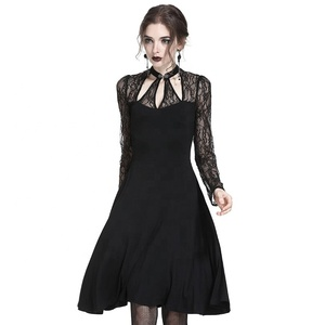 China factory sale low MOQ lady sexy triangle lace Gothic knitted dress