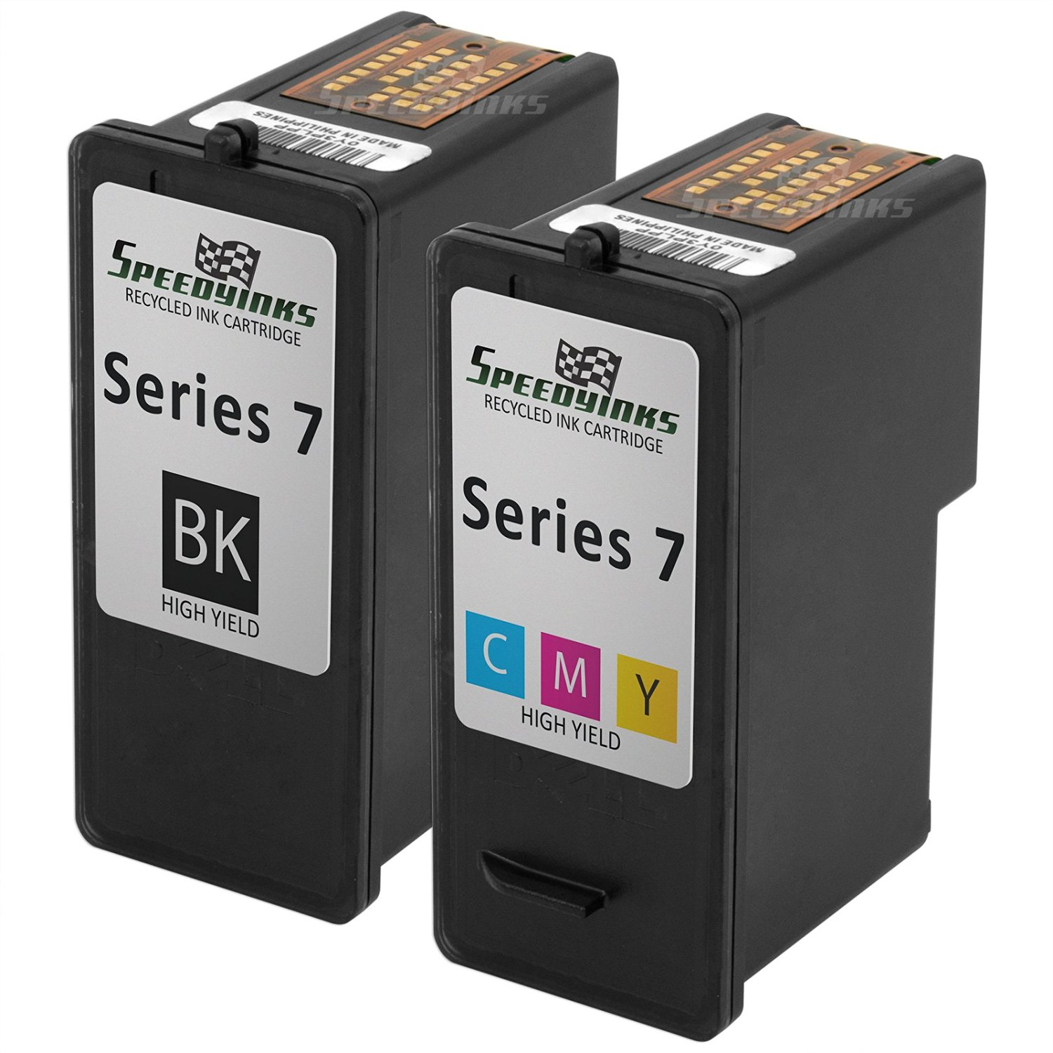 Speedy Inks - Remanfactured Dell Series 7 HY GR274 GR277 Set of 2 Ink Cartridges 1 Black 1 Color for use in Dell Photo all-in-one 966, Dell Photo all-in-one 968, Dell Photo all-in-one 968w