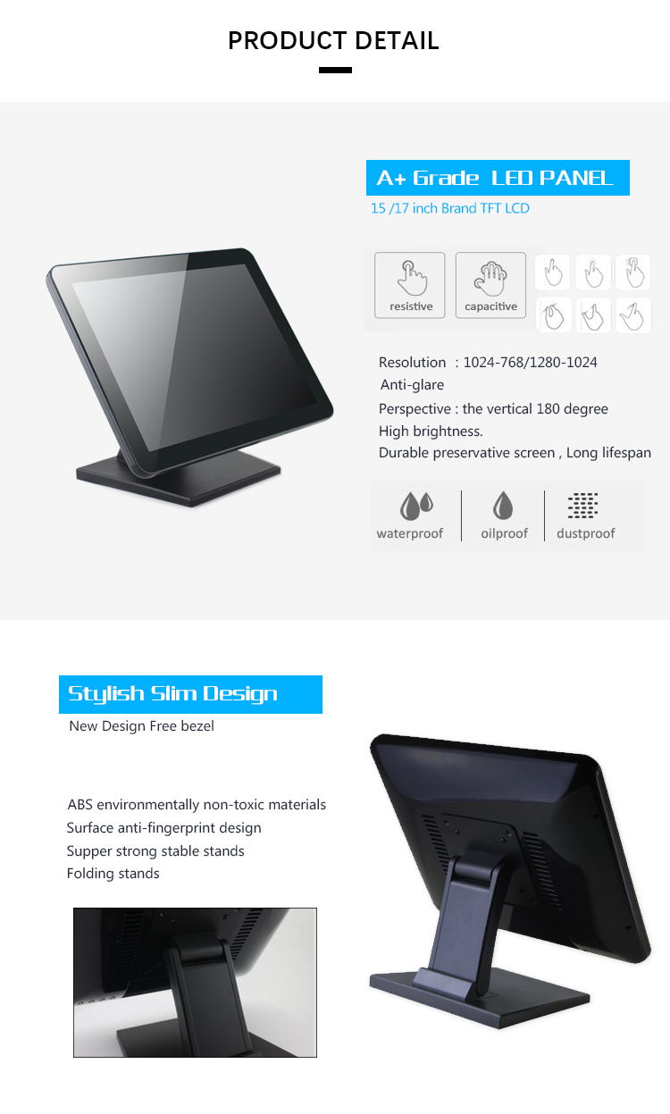 True flat Screen 15 Inch Capacitive Touch Screen Monitor for pos system