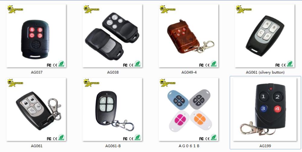 Caja de plástico 433mhz inalámbrico de control remoto de código hcs301... hcs300 RF Control remoto para puerta AG059