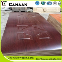 3mm natural sapele wood veneer faced interior HDF door skin to Kenya