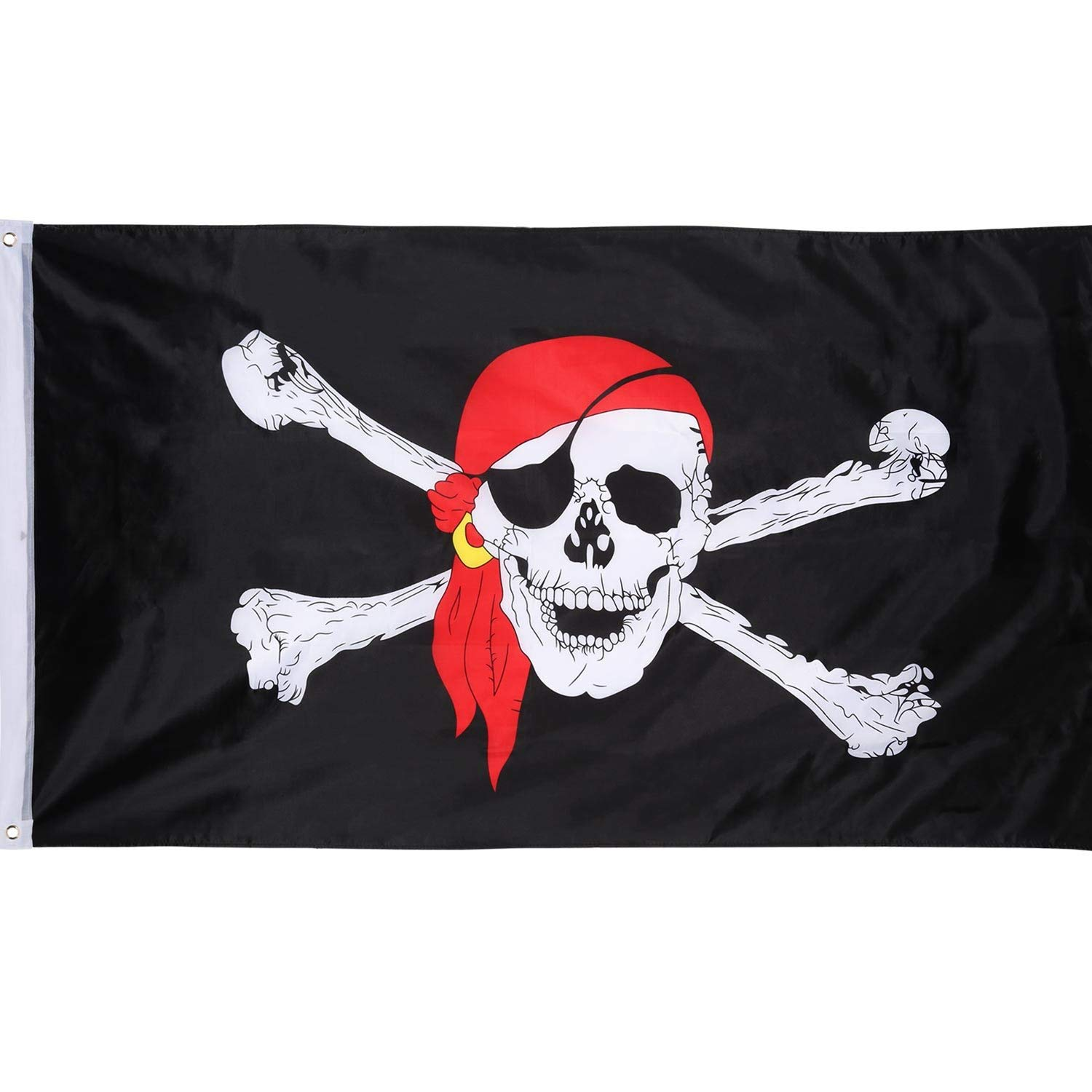 Hestya Jolly Roger Pirate Flag Polyester Red Scarf Skull Pirate Flag for Pirate Party, Pirate Day, Halloween Pirate Themed Decoration, 1 Pack, 3 by 5 Feet