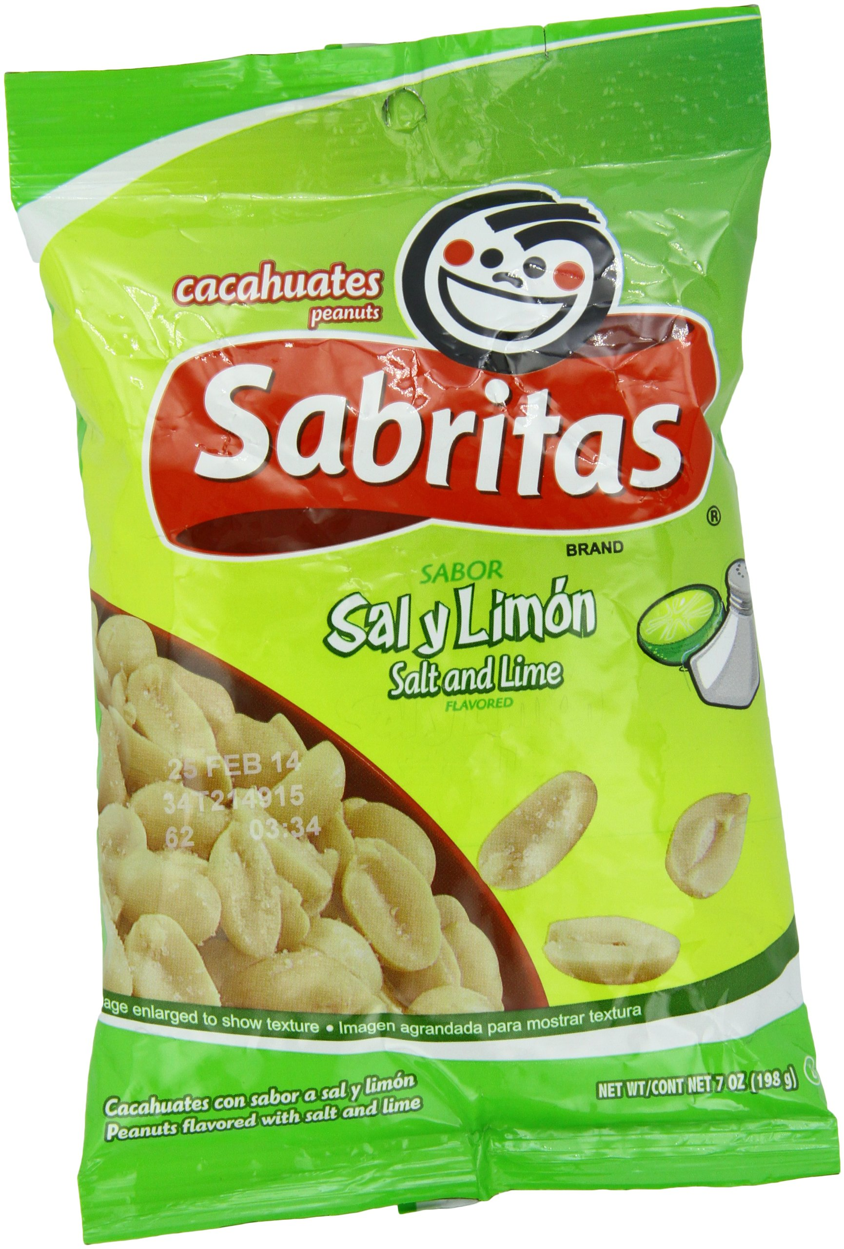 Sabritas Salt And Lime Peanuts, 7-Ounce (Pack of 6)