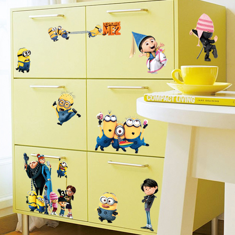 Removable 3d minions kids wall stickers