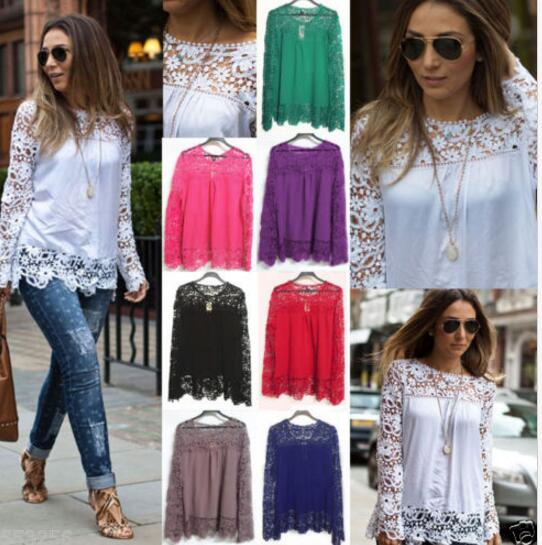 5af31568725088 walson Fashion Women Sheer Sleeve Embroidery Lace Crochet Tee Chiffon Shirt  Top Blouse