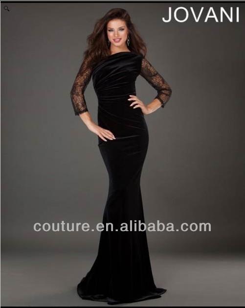 99d3f2784 حار بيع مصمم الشهير 2014 الدانتيل الأسود الطويل ميرميد كم em-0134 طويلة  الأكمام الفساتين