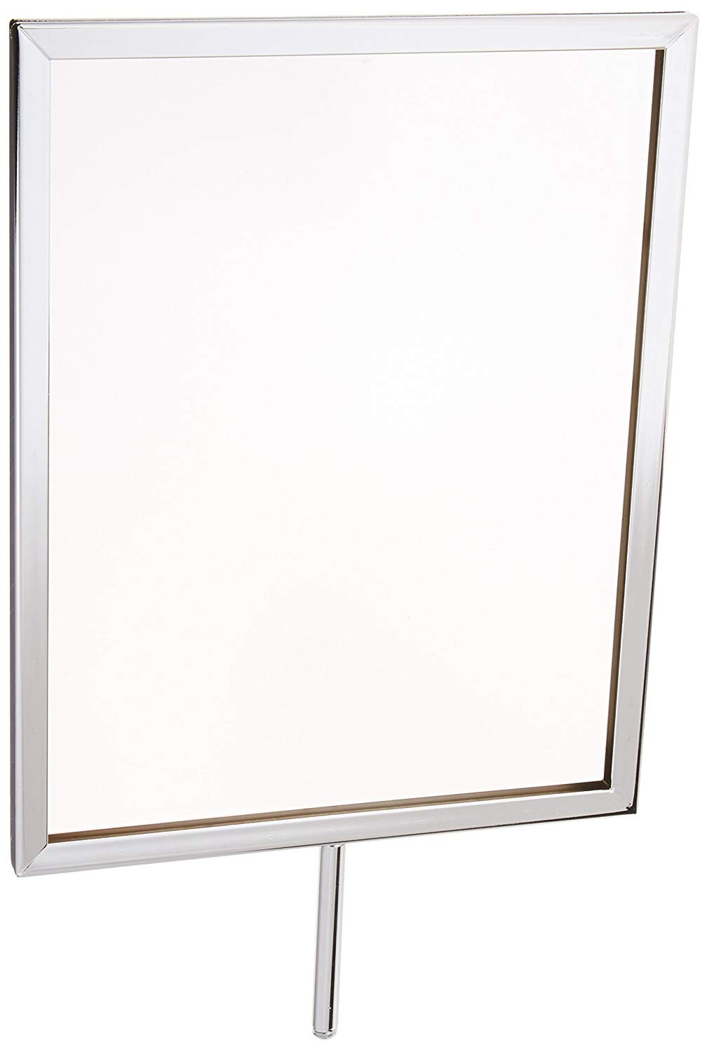 Displays2go 8.5 x 11 Inches Pedestal Sign Frames for Countertop Use, Top-Loading for 1/8-inch Poster Board, Steel Chrome, Set of 10 (RD8511CMMS)