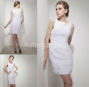 astergarden new style A-line bateau with beading short/mini chiffon timeless evening dressAS262