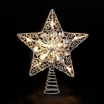 2017 Wholesale Christmas Tree Star Silver Glitter Battery Operated Tree Topper Star With Led Lights Buy Led Twinkle Light Star Christmas Tree