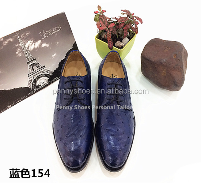 shoes leather genuine Tailor men free leather Personal shipping ostrich 8qwE4Ag