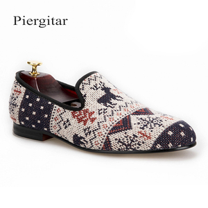 Piergitar Stylish Men's Fashionable Loafers with Cute Knitting Deer