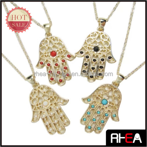 Fashion latest design alloy hands shaped pendant necklace kids jewellery