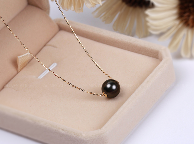 11 12mm top quality 18k gold black pearl pendant necklace tahiti 11 12mm top quality 18k gold black pearl pendant necklace tahiti pearl pendant aloadofball Image collections