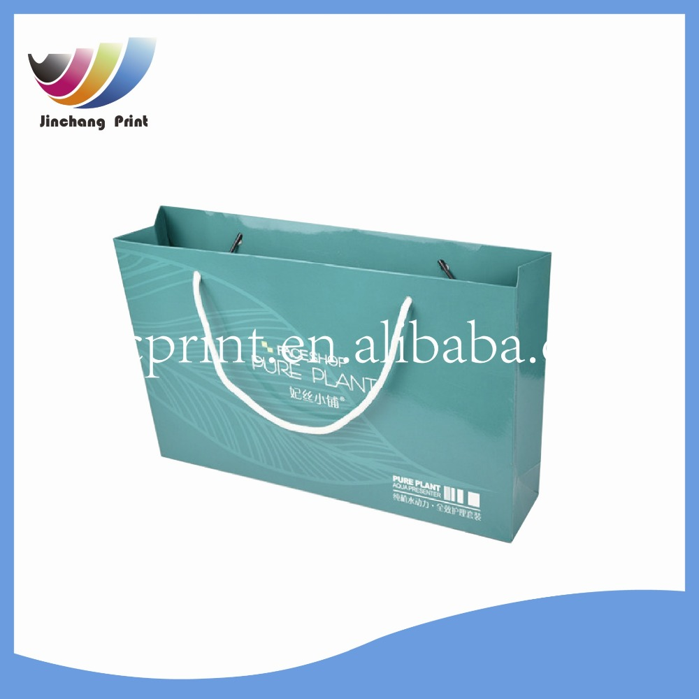 2016 luxury shopping paper bag print customized logo/ cheaper paper bag for small business