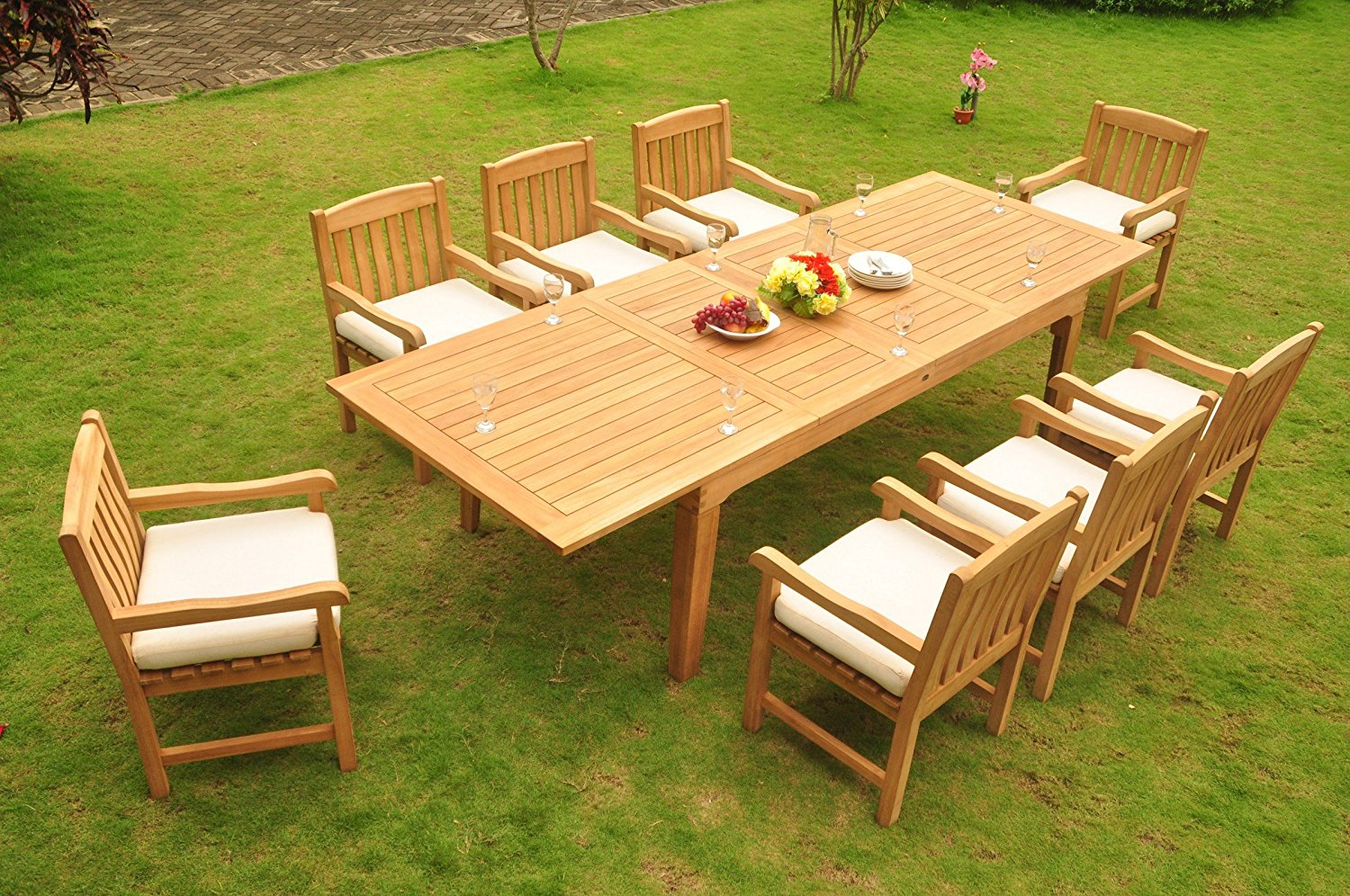 """Grade-A Teak Wood Dining Set 8 Seater 9 Pc: Very Large Caranasas 122"""" Double Extensions Double Extensions Premium Dining Rectangle Table and 8 Devon Arm / Captain Chairs #WFDSDVs"""