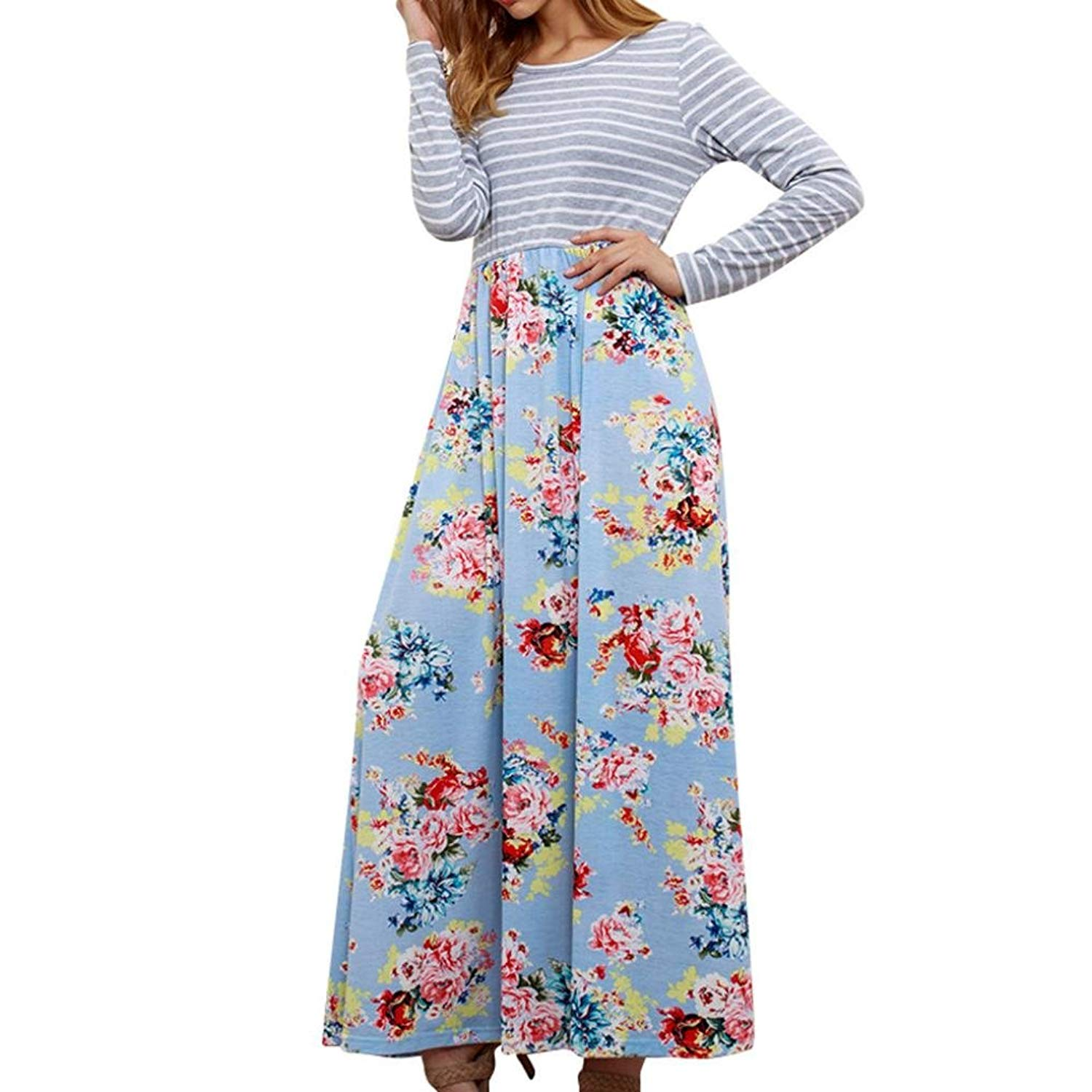 4d972de116 Get Quotations · Women s Floral Print Casual Long Sleeve A-line Loose T-Shirt  Long Maxi Dresses