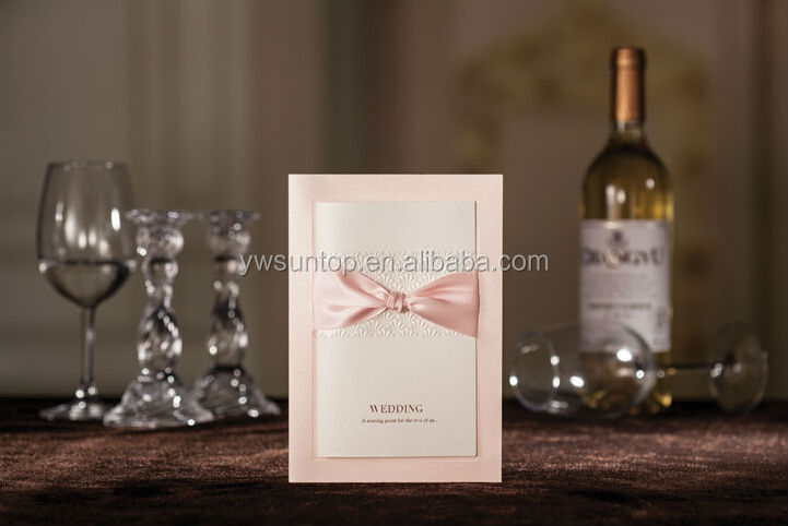 Light pink bow wedding invitation cards models 3061