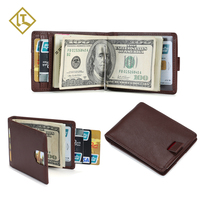 Cool Design Travel Man RFID Blocking Leather Slim Minimalist Wallet Front Pocket Card Holder Money Clip Men's Wallet