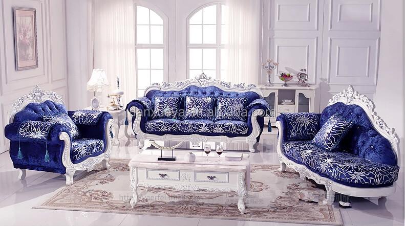 Luxury Living Room Furniture Royal Elegant Blue Velvet Sofa Set For Italian Style Sets