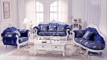 Luxury Living Room Furniture , Royal Elegant , Blue Velvet Sofa Set For Sale