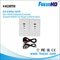 Foxun Audio Theater System Shunxun/OEM HDMI Wallplate Extender Transmitter and Receiver for Audio/Video Support 3D, ,IR, 60m