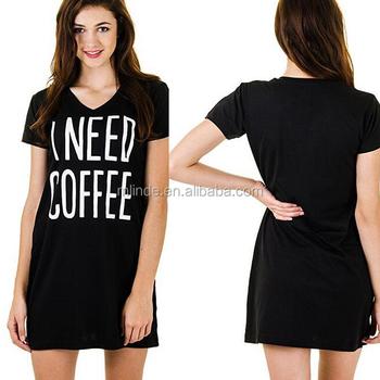 8313aba7e Western Ladies Sleep Long Length Nightshirt Designs Dress Short Sleeve  Loose Fit Black Printed Women Sexy
